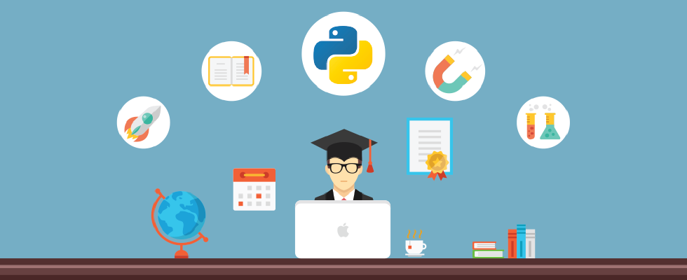 Creative vector illustration with flat concept icons set depicted education, online education, python programming, online tutorials, knowledge.
