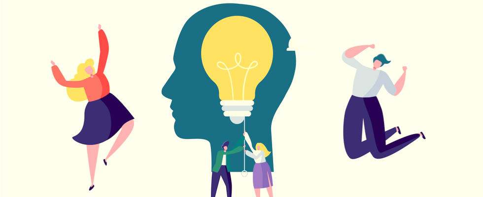 Creative Idea, Imagination, Innovation Concept with Light Bulb. Business People Characters Working Together on New Project. Vector illustration.
