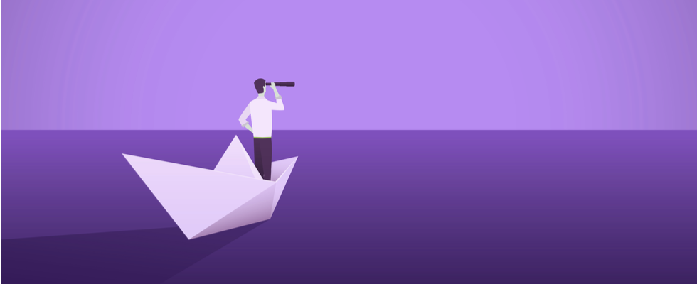 Businessman on a paper boat with telescope. Symbol of a leader, success, ambition, leadership, future. Vector illustration.