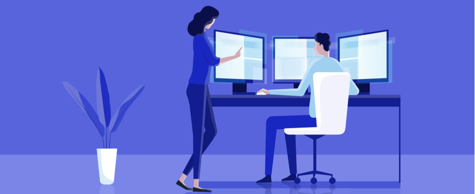 Flat vector illustration. Man and woman installing PyCharm IDE on the computer.