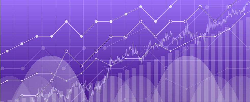 Data graph chart, vector illustration. Trend lines, columns, market economy information background.