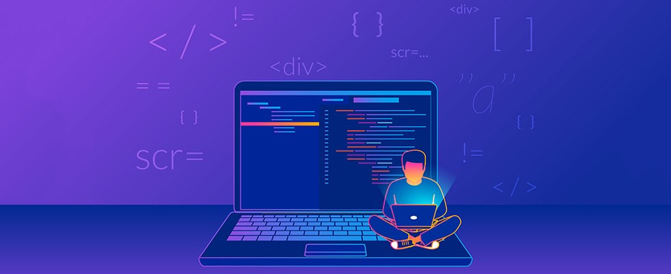 Gradient line vector illustration of young programmer coding a new project using computer on violet background with code symbols and signs.