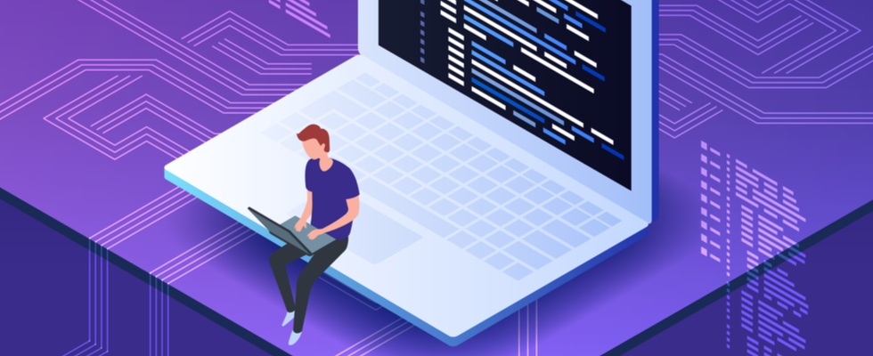 Alt-text: Isometric vector illustration of young programmer coding a new project using computer. Man sitting on the big laptop and working.