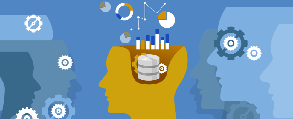 Data analyst concept. Head of a Data Analyst thinking.